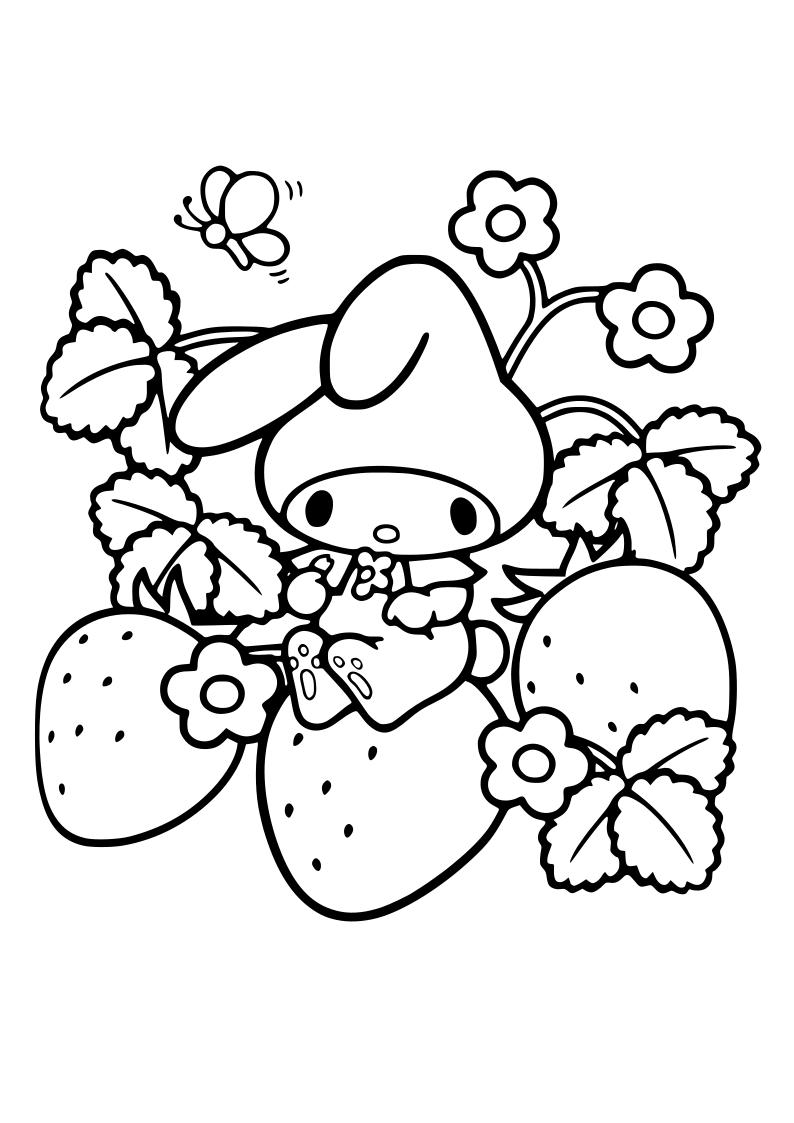 Dibujo De Conejito Fresas Kawaii Para Imprimir Y Colorear