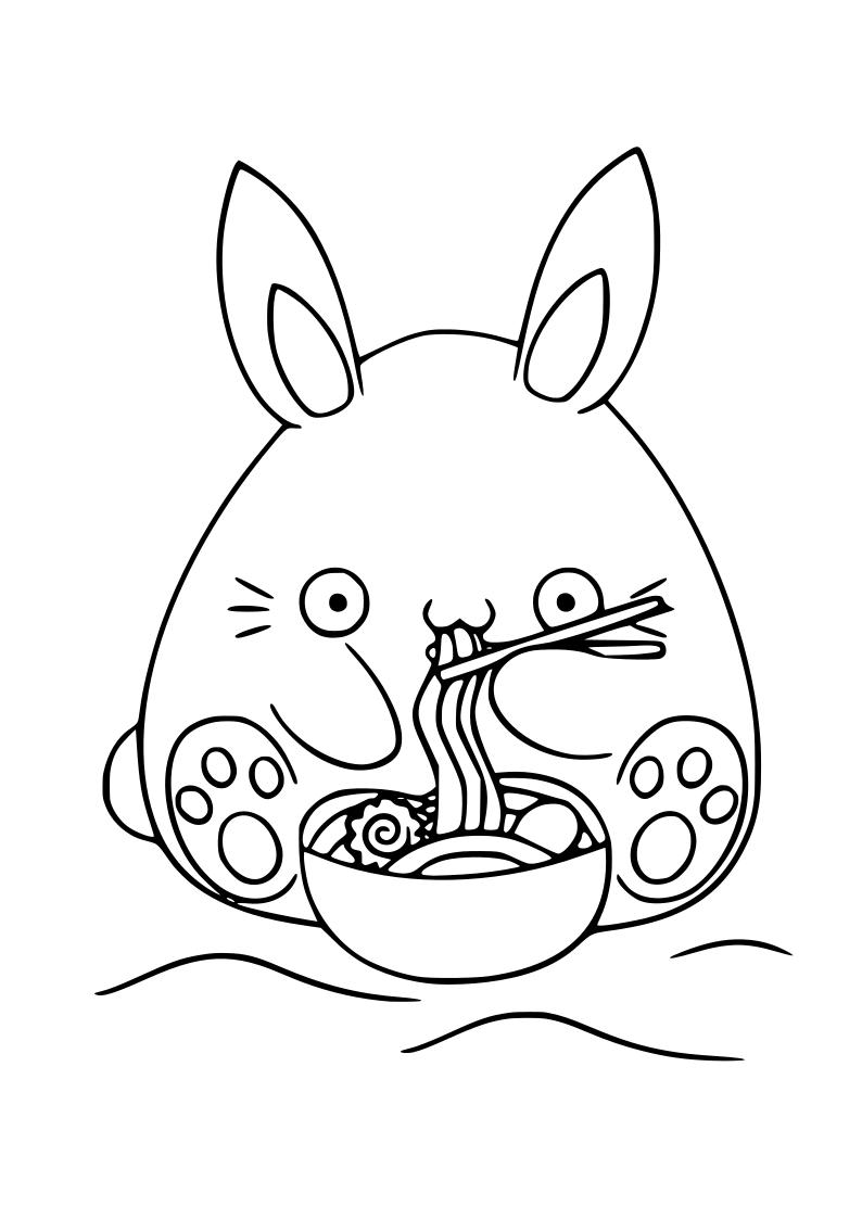 Dibujo De Conejito Comiendo Pasta Kawaii Para Imprimir Y