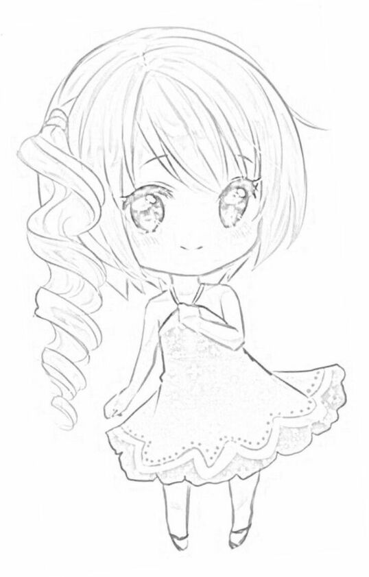 Dibujo chica anime Kawaii para colorear 2
