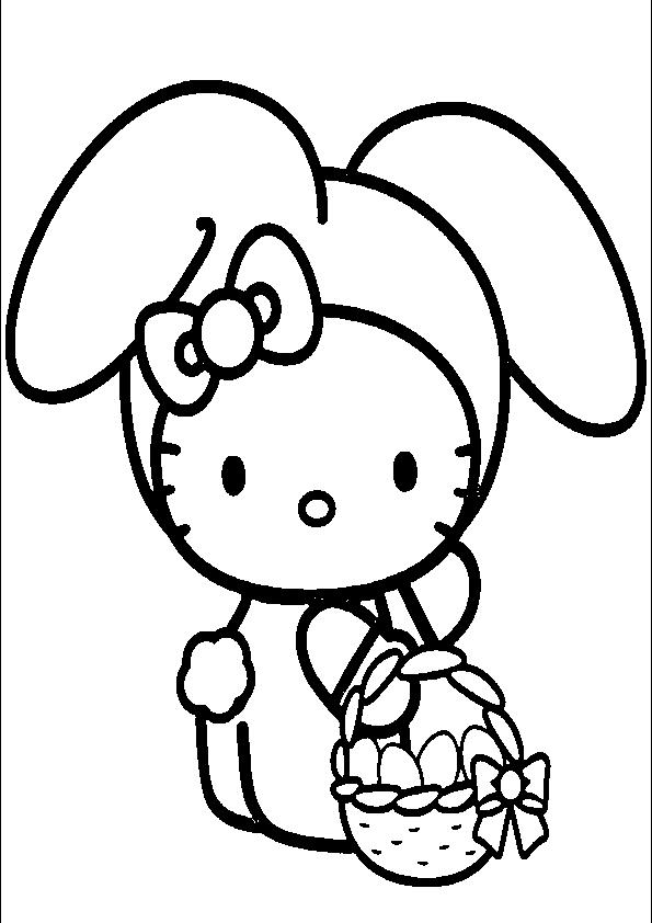 Dibujos de Hello Kitty de conejito de pascua