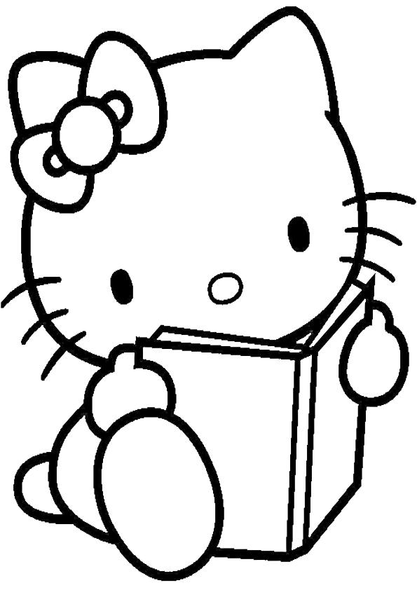 Dibujos de Hello Kitty leyendo libro