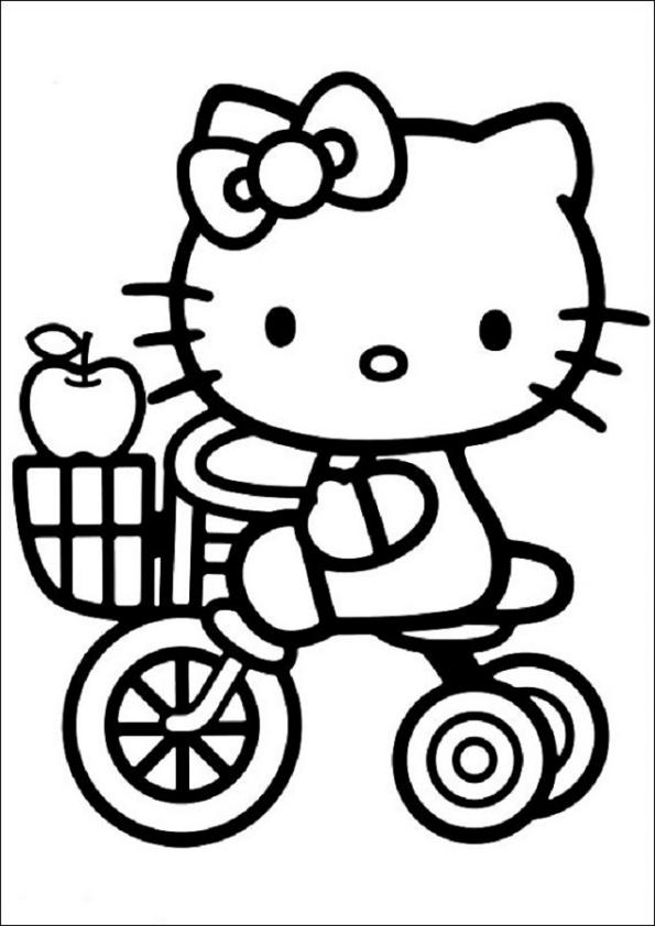 Dibujos de Hello Kitty en triciclo