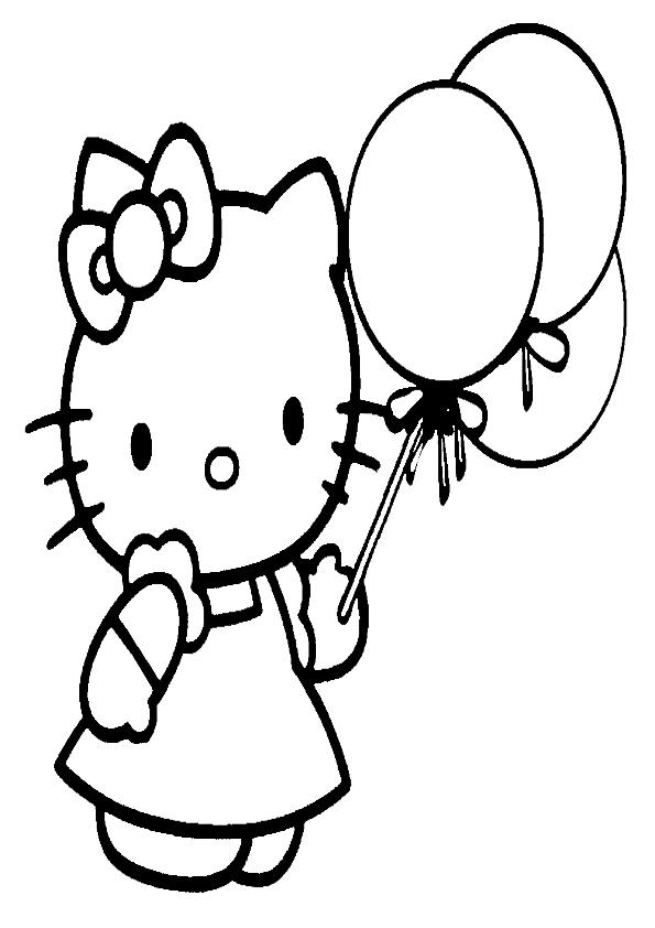 Dibujos de Hello Kitty con vestido y globos