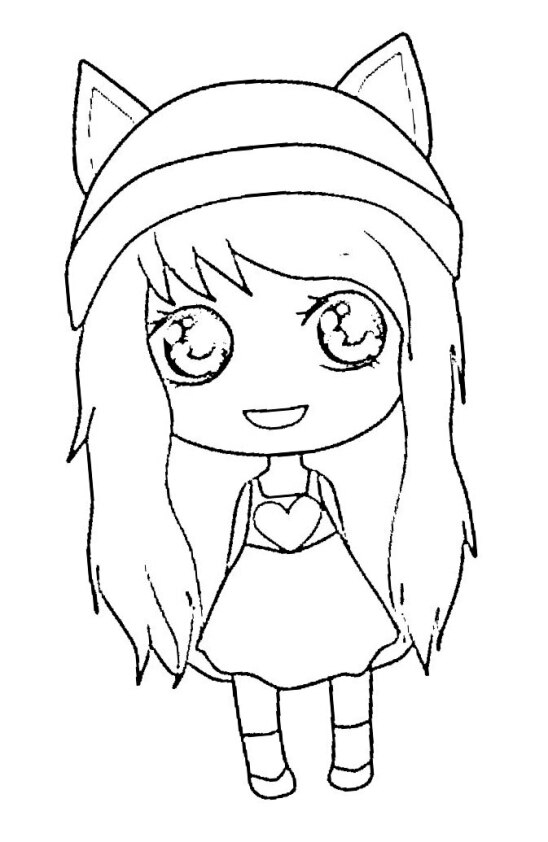 Dibujo Kawaii para colorear de chica anime con decoración de corazón en vestido