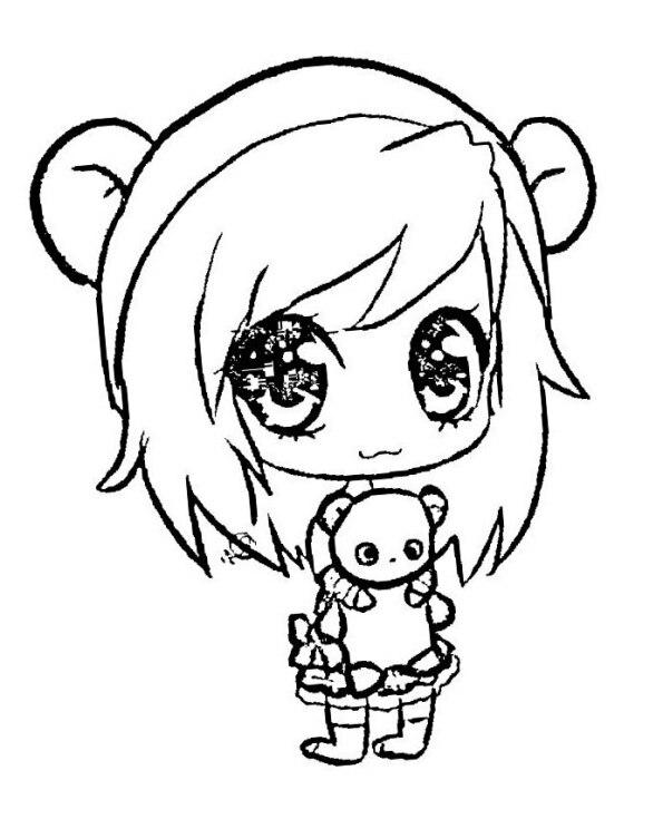 Dibujo Kawaii para colorear de chica anime con osito panda