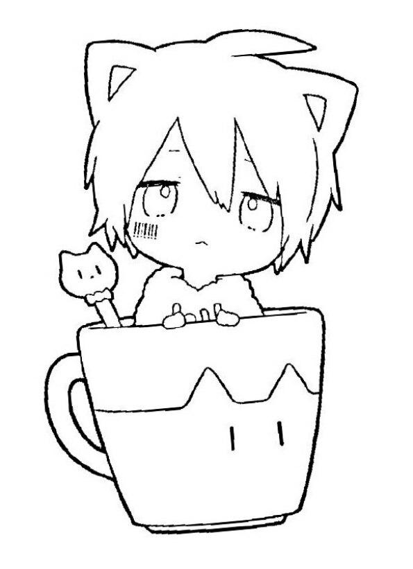 Dibujo para colorear de chica anime Kawaii dentro de taza