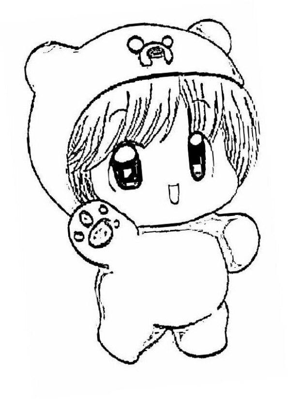 Dibujo para colorear niña anime Kawaii