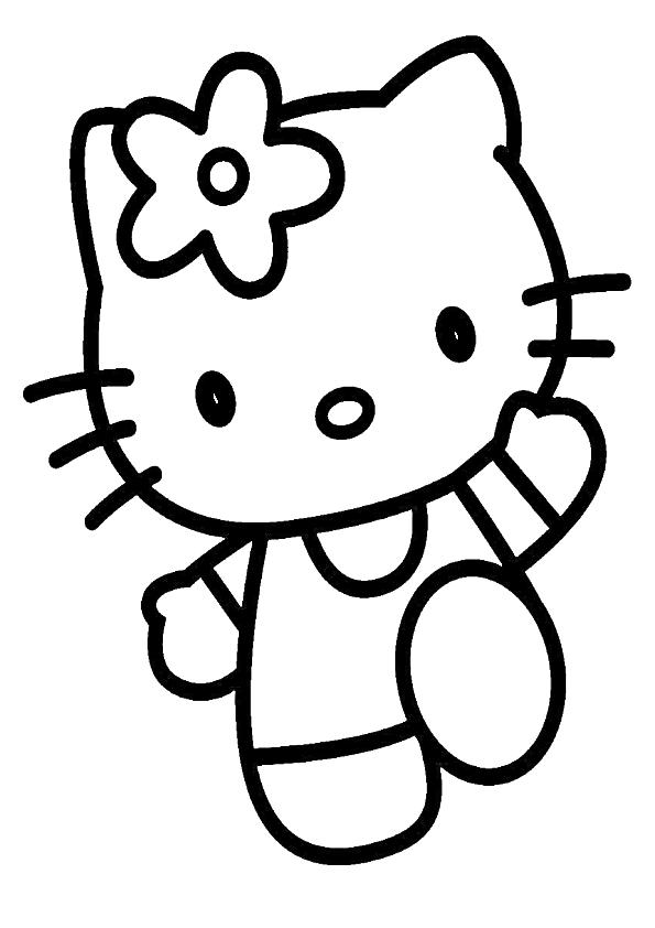 Dibujos kawaii Hello Kitty saltando para imprimir y colorear