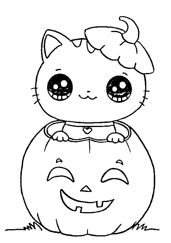 Dibujos de halloween gatita calabaza