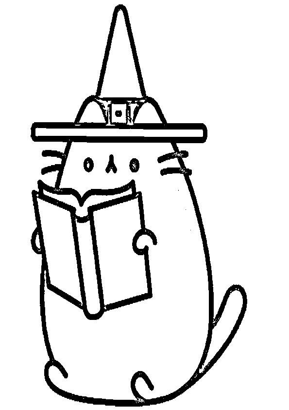 Dibujos de halloween gatito brujito leyendo