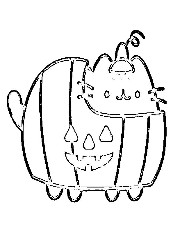 Dibujos de halloween gatito calabaza 2