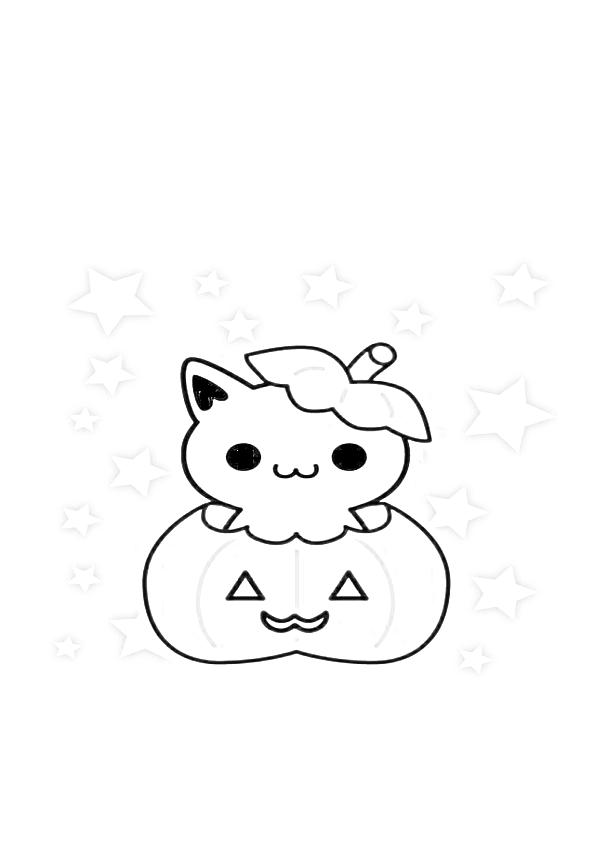 Dibujos de halloween gatito calabaza