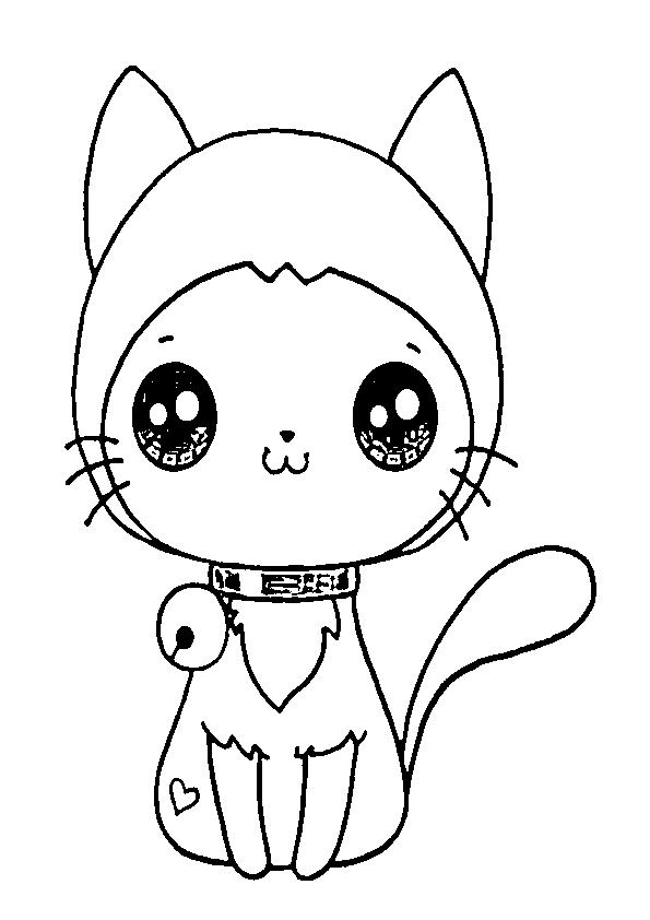 Dibujos gatitos kawaii adorable con gorro y cascabel