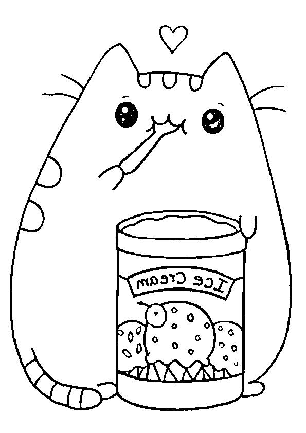 Dibujos gatito kawaii comiendo helado