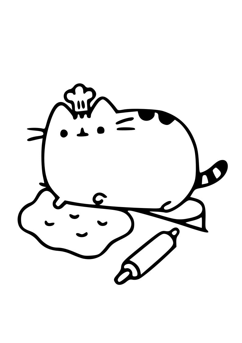 Dibujo De Gato Cocinero Kawaii Para Imprimir Y Colorear
