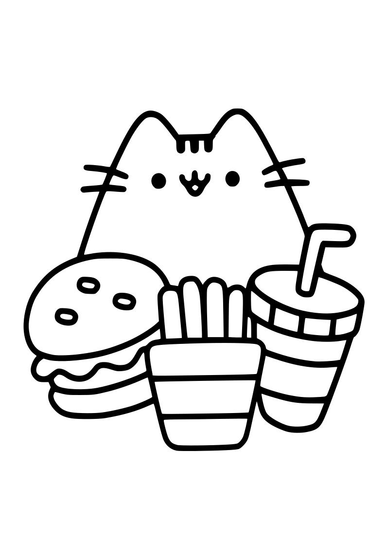 Dibujo De Gato Con Hamburguesa Patatas Y Refresco
