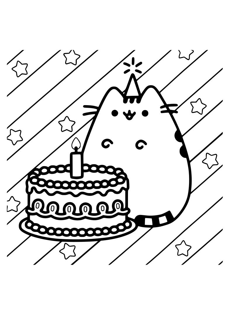 Dibujo De Gato Tarta Kawaii Para Imprimir Y Colorear 2020