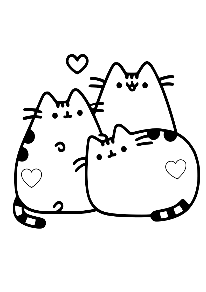 Dibujo De Tres Gatos Corazones Kawaii Para Imprimir