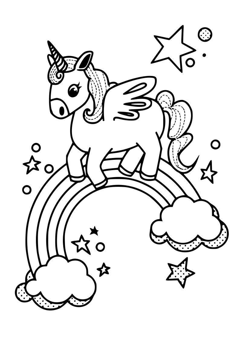 Dibujo unicornio kawaii